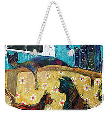 Weekender Tote Bag featuring the painting Cats Hangin' Out  by Claire Bull