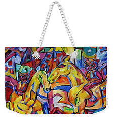 Weekender Tote Bag featuring the painting Cats On Horse Intensity by Dianne  Connolly