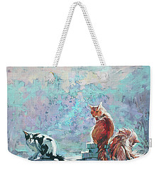 Weekender Tote Bag featuring the painting Cats. Washed By Rain by Anastasija Kraineva