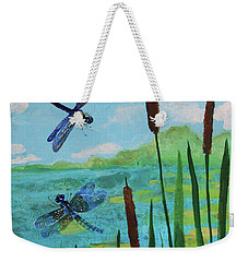 Cattails And Dragonflies Weekender Tote Bag