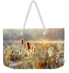 Cattails - Misty Morning - Marsh - Frost Weekender Tote Bag by Janine Riley