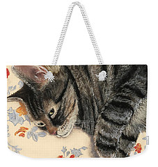 Weekender Tote Bag featuring the painting Cattitude by Anastasiya Malakhova
