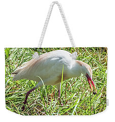 Cattle Egret Catching A Spider Weekender Tote Bag