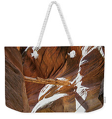 Weekender Tote Bag featuring the photograph Caught In A Slot by Gaelyn Olmsted