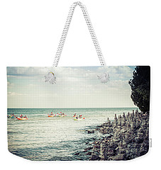 Weekender Tote Bag featuring the photograph Cave Point Rock Formations by Joel Witmeyer