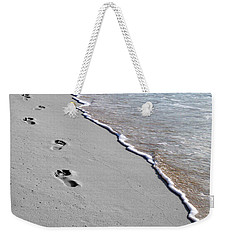 Weekender Tote Bag featuring the digital art Cayman Footprints Color Splash Black And White by Shawn O'Brien