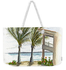 Weekender Tote Bag featuring the digital art Cayman Hotel by Darren Cannell