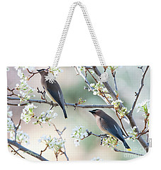 Cedar Wax Wing Pair Weekender Tote Bag