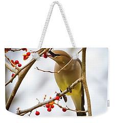 Cedar Waxwing Feeding  Weekender Tote Bag