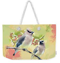 Cedar Waxwing Watercolor Photo Weekender Tote Bag by Heidi Hermes