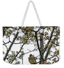 Cedar Waxwings In A Blossoming Tree Weekender Tote Bag