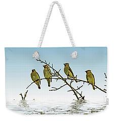 Cedar Waxwings On A Branch Weekender Tote Bag