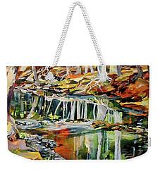 Weekender Tote Bag featuring the painting Ceeekbed, Fall Colors 4 by Rae Andrews