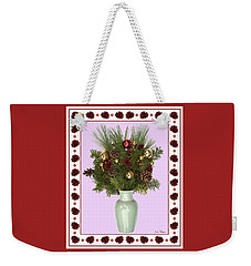 Weekender Tote Bag featuring the digital art Celadon Vase With Christmas Bouquet by Lise Winne