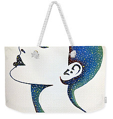 Weekender Tote Bag featuring the painting Celeste by Edwin Alverio