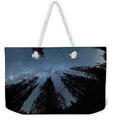 Weekender Tote Bag featuring the photograph Celestial Starlight In The Forest Near  Lake Irene Colorado by OLena Art Brand