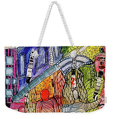 Weekender Tote Bag featuring the mixed media Celestial Windows by Mimulux patricia no No