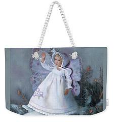 Weekender Tote Bag featuring the painting Celestine Snow Fairy by Nancy Lee Moran