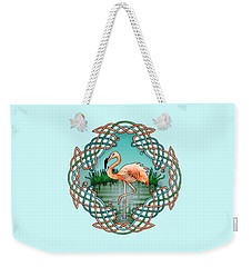 Weekender Tote Bag featuring the drawing Celtic Flamingo Art by Kristen Fox