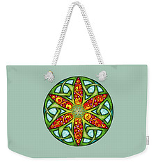 Weekender Tote Bag featuring the mixed media Celtic Summer Mandala by Kristen Fox