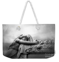 Weekender Tote Bag featuring the photograph Cemetery Grave Mourner Black White Surreal Coffin Grave Art - Angel Mourner Across Rose Coffin by Kathy Fornal