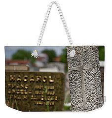 Weekender Tote Bag featuring the photograph Cemetery Headstones - Slovenia by Stuart Litoff