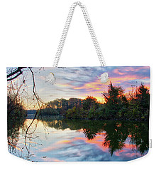 Weekender Tote Bag featuring the photograph Centennial Lake At Sunrise by Mark Dodd