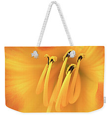 Weekender Tote Bag featuring the photograph Center Of An Orange Daylily by Jim Hughes