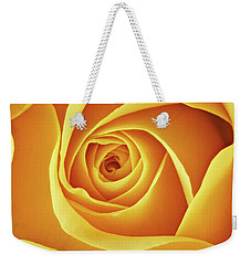 Weekender Tote Bag featuring the photograph Center Of A Yellow Rose by Jim Hughes