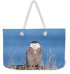 Centered Snowy Owl Weekender Tote Bag
