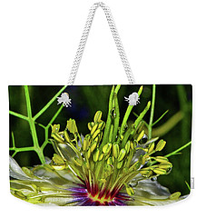 Centerpiece - Love In The Mist Macro Weekender Tote Bag by George Bostian
