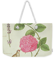 Centifolia Rose, Lavender, Tortoiseshell Butterfly, Goldfinch And Crested Pigeon Weekender Tote Bag