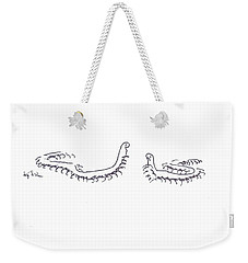 Weekender Tote Bag featuring the painting Centipedes In Discussion Cartoon by Kip DeVore