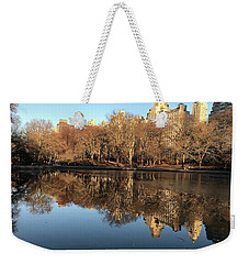 Weekender Tote Bag featuring the photograph Central Park City Reflections by Madeline Ellis