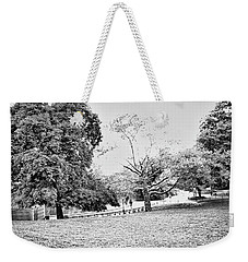 Weekender Tote Bag featuring the photograph Central Park In Black And White by Madeline Ellis