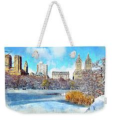 Weekender Tote Bag featuring the digital art Central Park In Winter by Kai Saarto