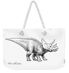 Cera The Triceratops - Dinosaur Ink Drawing Weekender Tote Bag