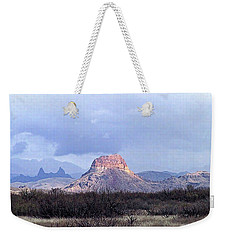 Weekender Tote Bag featuring the painting Cerro Castellan And Mule Ears  by Dennis Ciscel