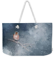 Chaffinch On A Cold Winter Day Weekender Tote Bag