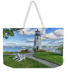 Chairs At Newport Harbor Lighthouse Weekender Tote Bag