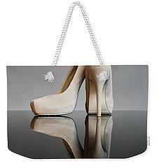 Weekender Tote Bag featuring the photograph Champagne Stiletto Shoes by Terri Waters