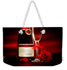 Champagne With Red Roses And Petals Weekender Tote Bag by Serena King