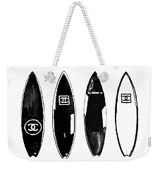 Chanel Surfboard  Black And White Weekender Tote Bag