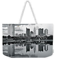 Charcoal Columbus Mirror Image Weekender Tote Bag by Frozen in Time Fine Art Photography