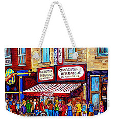Charcuterie Hebraique Schwartz Line Up Waiting For Smoked Meat Montreal Paintings Carole Spandau     Weekender Tote Bag