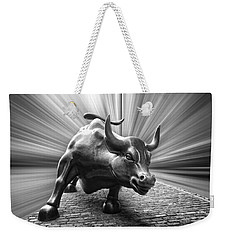 Charging Wall Street Bull B W Weekender Tote Bag