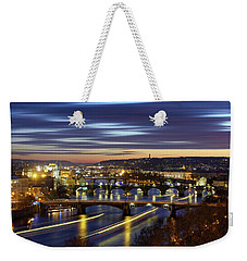 Charles Bridge During Sunset With Several Boats, Prague, Czech Republic Weekender Tote Bag