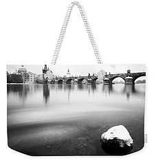 Charles Bridge During Winter Time With Frozen River, Prague, Czech Republic Weekender Tote Bag