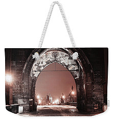 Weekender Tote Bag featuring the photograph Charles Bridge In Winter. Prague by Jenny Rainbow