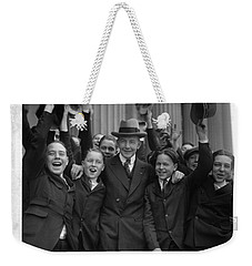 Weekender Tote Bag featuring the painting Charles Gates Dawes And Senate Pages by Artistic Panda